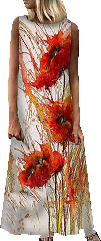FRSH MNT Tank Maxi Dress for Womens,Women's Sleeveless Summer Dresses Casual Long Dress Boho Beach Sundress with Pockets