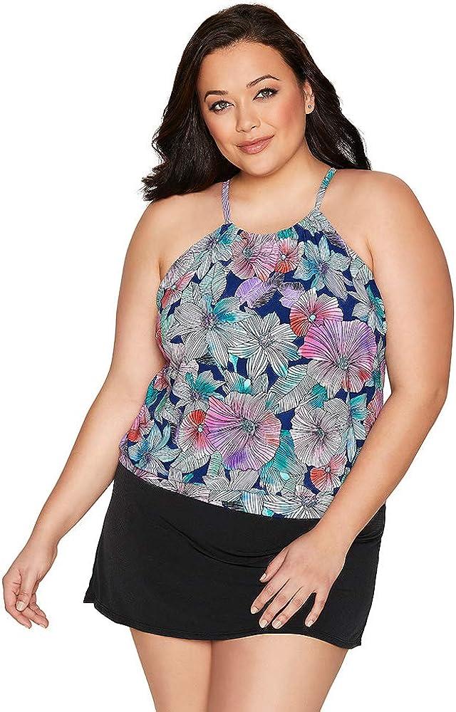 Caribbean Joe Women's Plus Size Swimwear Love My Tribe Flower Power High Neck Blouson Tankini Bathing Suit Top