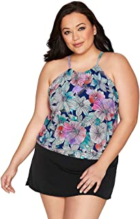 Women's Plus Size Swimwear Love My Tribe Flower Power High Neck Blouson Tankini Bathing Suit Top