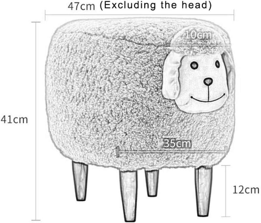 GWM Tabouret, Petit siège, Tabouret créatif de Changement d'agneau, Tabouret d'animal de Tabouret de ménage 47 * 35 * 41cm (Couleur : Blanc) Rose