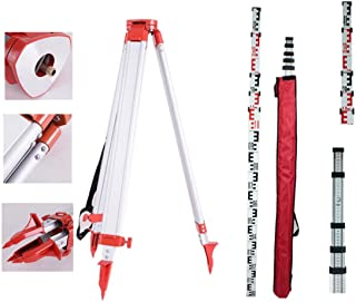 Iglobalbuy 16.4ft Staff With 1.63m (64.96inches) Aluminum Tripod for Rotary Laser Level Auto Level Theodolite