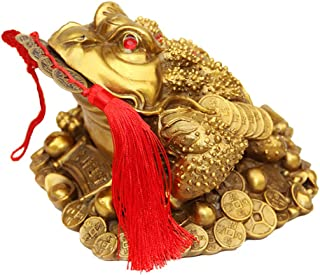 Amperer Brass Feng Shui Money Frog Three Legged Wealth Traditional Frog Money Toad Statue with Set of 5 Lucky Charm Ancient Coins on Red String Home Car Fengshui Decor (B1 Money Frog)