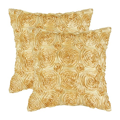 CaliTime  2 Gold Pillow Covers