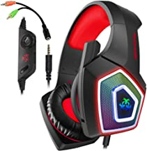 Best Xbox One Headset with Mic LED Light On Ear Gaming Headphone PS4,3.5mm Wired Gaming Headset for PC Mac Laptop Nintendo Switch Gamer Headphone (Red) Review