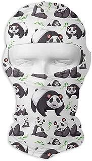Comfortable Panda Bear Background Headcover Soft Balaclava Headwear Fit Full Hood Face Mask White