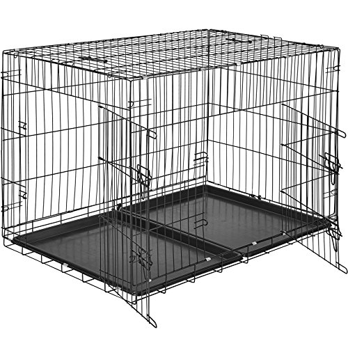 TecTake 800515 Hundekäfig Transportbox | 2 große Türen mit Riegeln | Zusammenklappbar - Verschiedene Größen (106 x 70 x 76 cm | Nr. 402296)