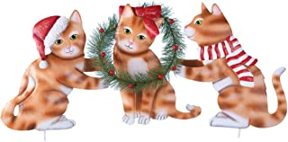 Collections Etc Holiday Santa Hat Kittens with Wreath Stake