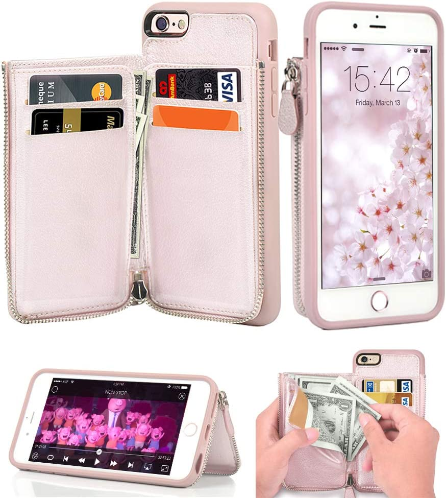 iPhone 6 Wallet Case, iPhone 6s Leather Case, LAMEEKU Shockproof RFID Blocking Card Holder Cases with Credit Card Slot Zipper Purse Money Pockets, Protective Cover for Apple iPhone 6/6s Rose Gold