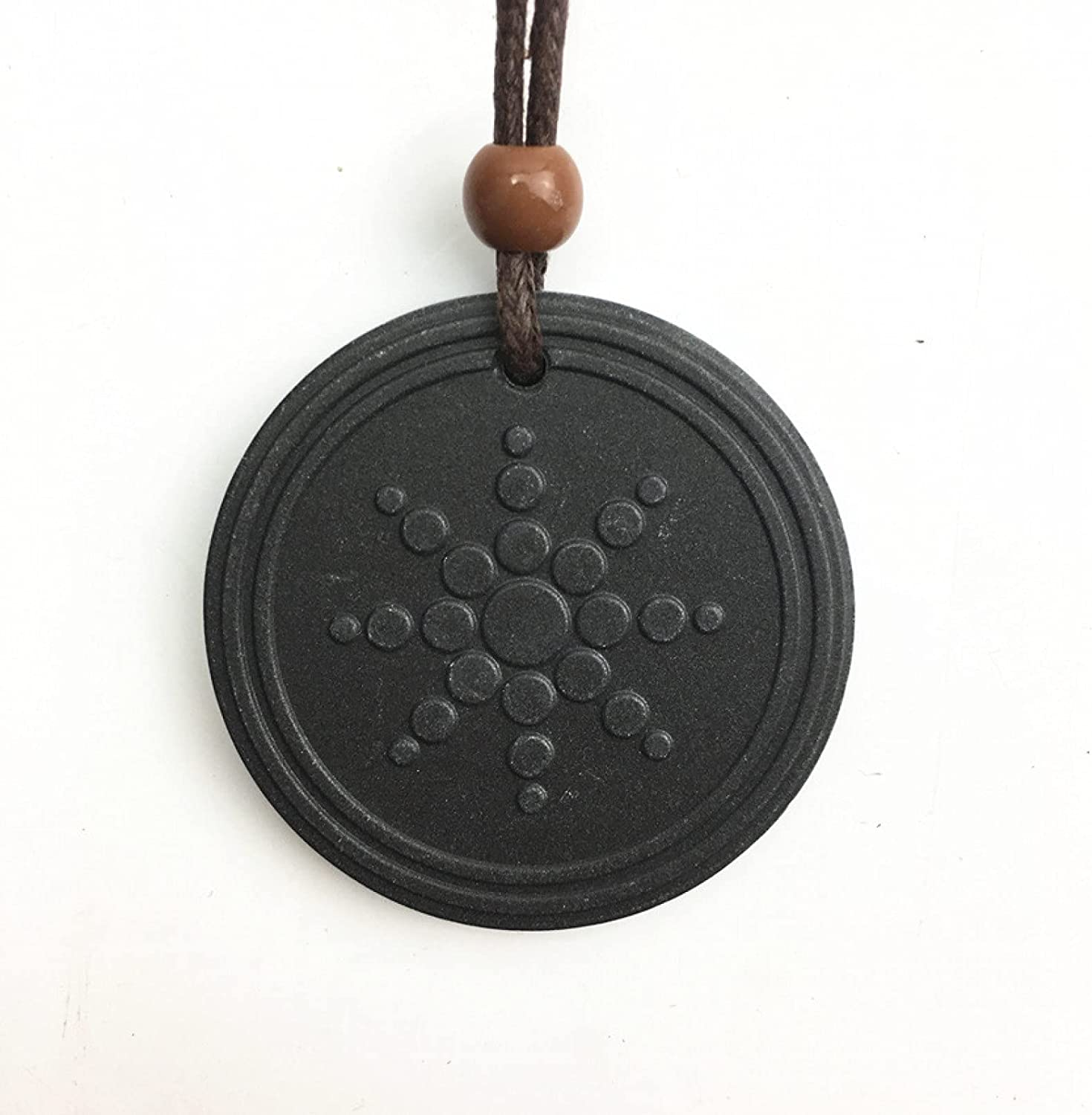 N/A Necklace Pendant Lava Sun-Flower Energy Necklace with Stainless Steel Chain Black Scalar Protection Quantum Pendant Necklaces Christmas Mother's Day Valentine's Day Birthday Gift