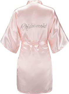Women's One Size Silver Rhinestones Bride Bridesmaid Short Satin Robes for Wedding Party Getting Ready