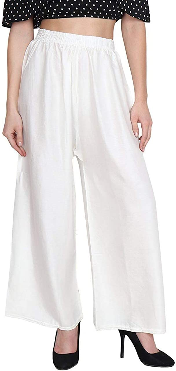 Delisa Indian Readymade Casual Rayon Soft Material Palazzo Pants for Women