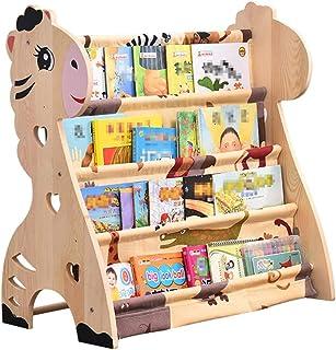 Estantes para niños Estantería para bebés Estantería de almacenamiento de acabado en madera maciza para bebé Estantería de libros para bebé Estante de juguetes para niño y niña simple