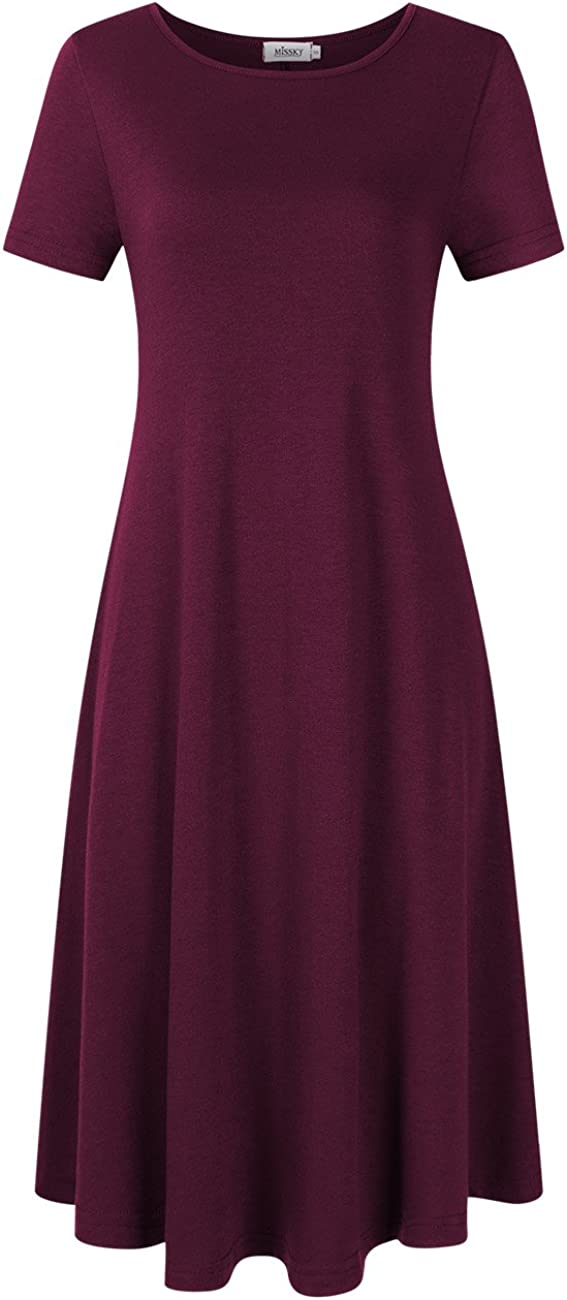 MISSKY Women's Pullover Pocket Loose Swing Casual Dress