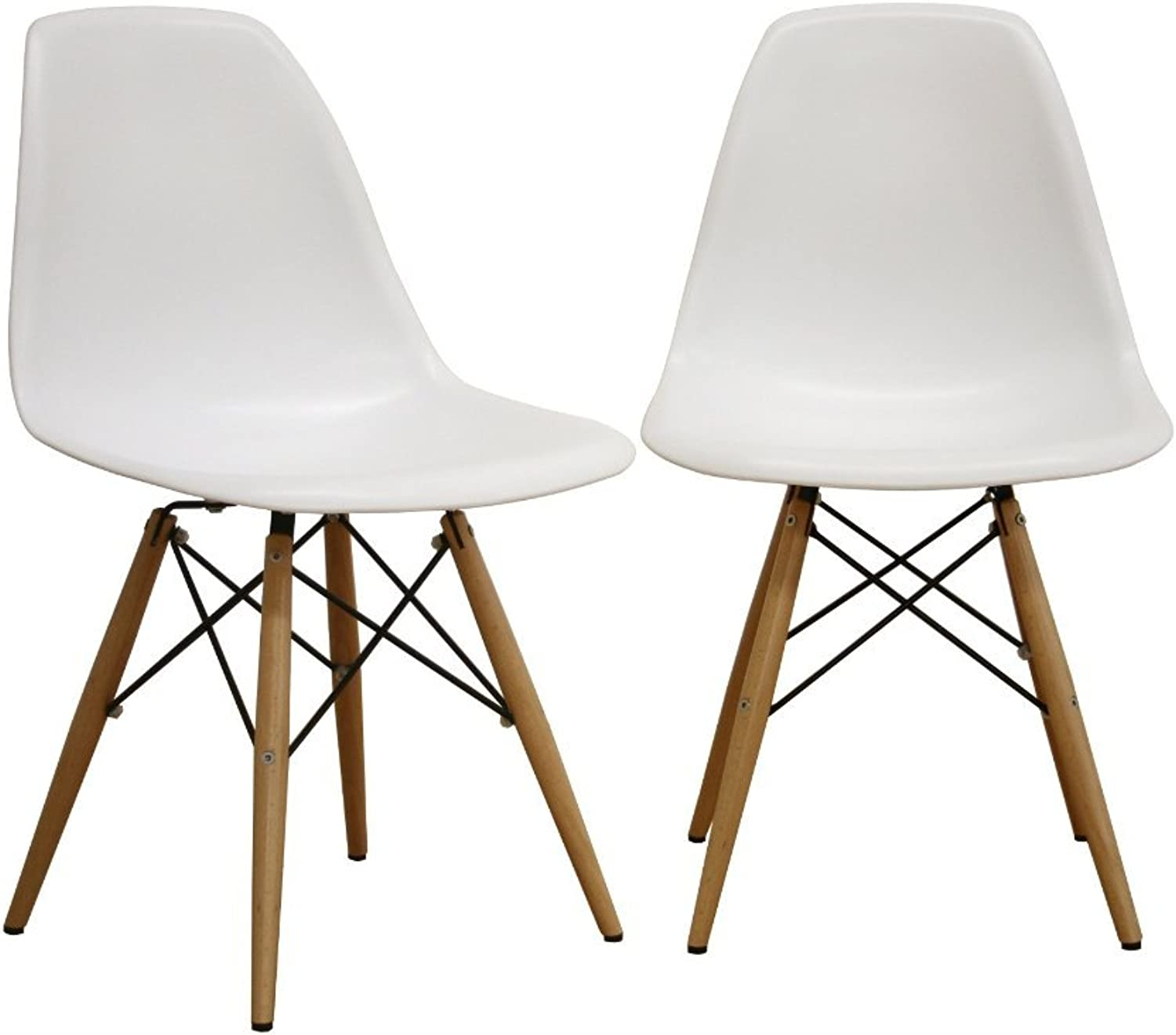 Eames Eiffel White Dining Room Chairs, Set of Two (2)
