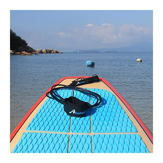 """Abahub Premium Surfboard Leash, Straight Surf Board Leg Rope, SUP Legrope Strap for Shortboard, Longboard, Paddleboard… 5 Full Range: Size options: 6ft, 7ft, 8ft, 9ft, and 10ft; 10 Color options: Black, Blue, Green, Clear Red, Clear Blue, Orange, Purple. It's recommended to choose a leash equal in length to or slightly longer than the board it will be used on. Strong & Safe: This leash is made of super strong 7 mm thick polyurethane cord, with molded-in double Stainless Steel swivels. The double wrap-around velcro cuff is to add extra strength and security to your connection. Comfortable & Easy: High-density neoprene padded 2"""" Ankle Cuff has an easy pull tab with a hidden key pocket."""