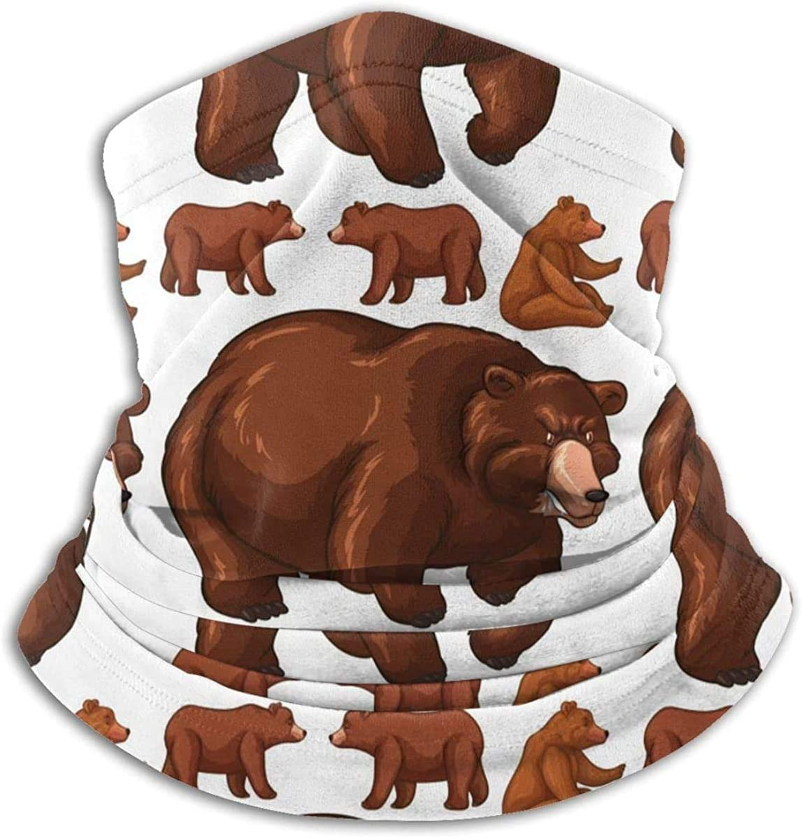 Lastbest Brown Bears Neck Warmer Multifunction Scarf Hat Neck Gaiter Neck Cap Bala Windproof Neck Heating Wrap Outdoor Sports One Size