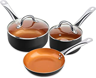 SHINEURI 5 Pieces Nonstick Copper Cookware Pans and Pots Set - 8 inch Frying Pan, 1.5 qt Saucepan and 2.5 qt Sauce Pan - Suitable for Induction, Gas, Electric & Stovetops