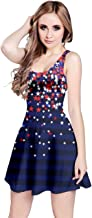 CowCow Womens Costume Cosplay American Flag National Day Pearl Jewery Diamond Party Sleeveless Dress, XS-5XL