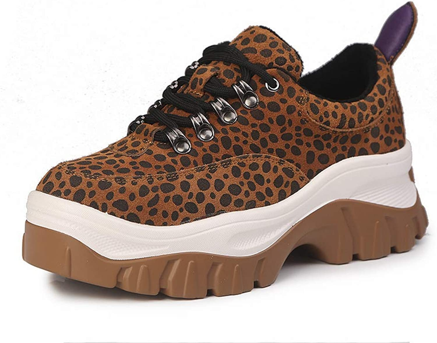 T-JULY Women's Leopard Suede Leather Vulcanize shoes Ladies High Platform Sneakers Wedges shoes