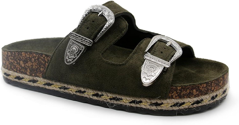 JOURNEI Double Buckle Flat Sandals Slides for Women Girls's Slippers