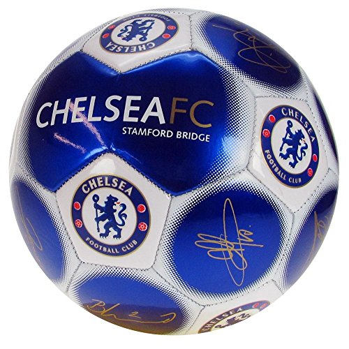 Chelsea Unisex's Official New Signature Edition Crest Football-Metallic, Size 5