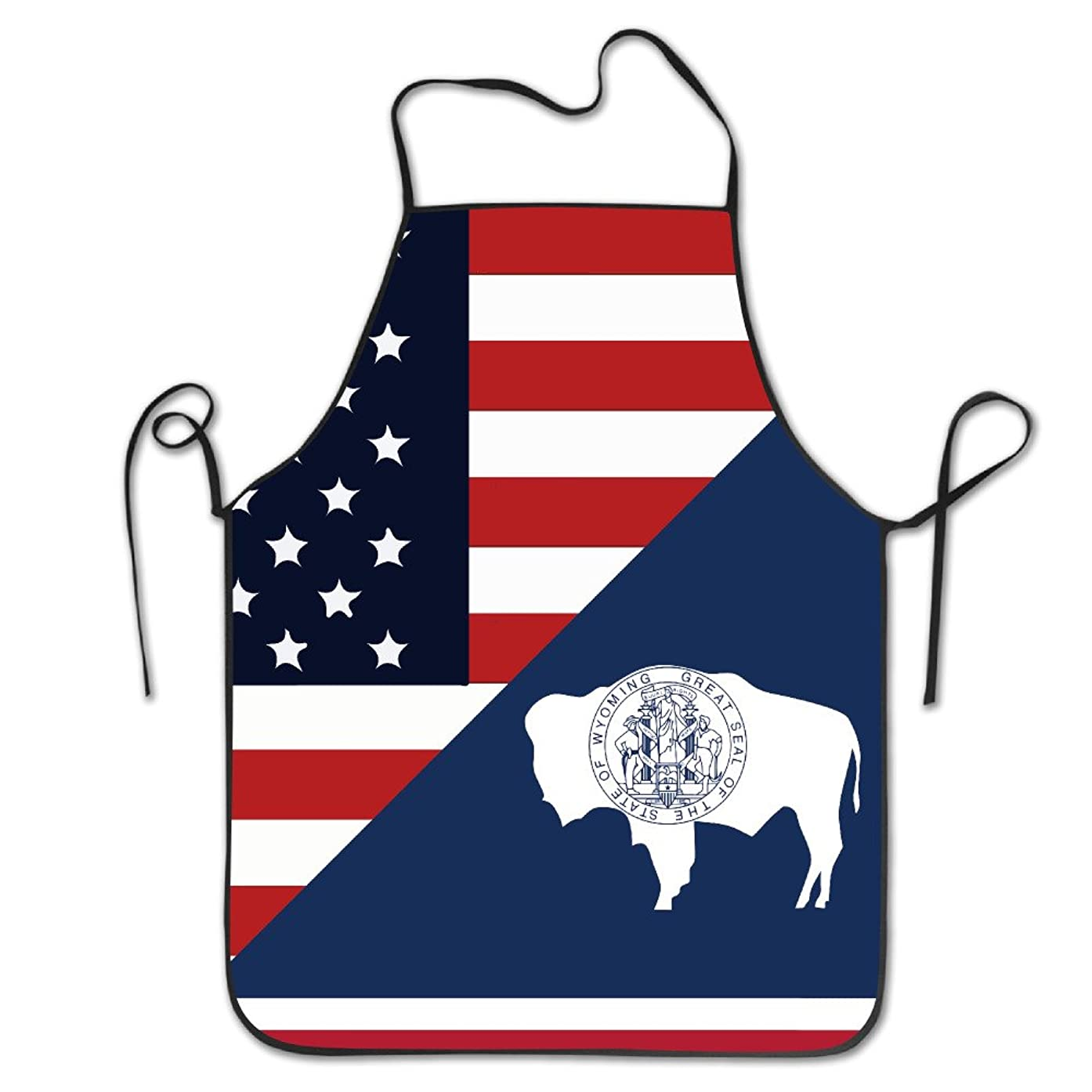 TE-REXQ Women's America Wyoming State Flag USA Kitchen Cooking Chef Baking Aprons With Adjustable