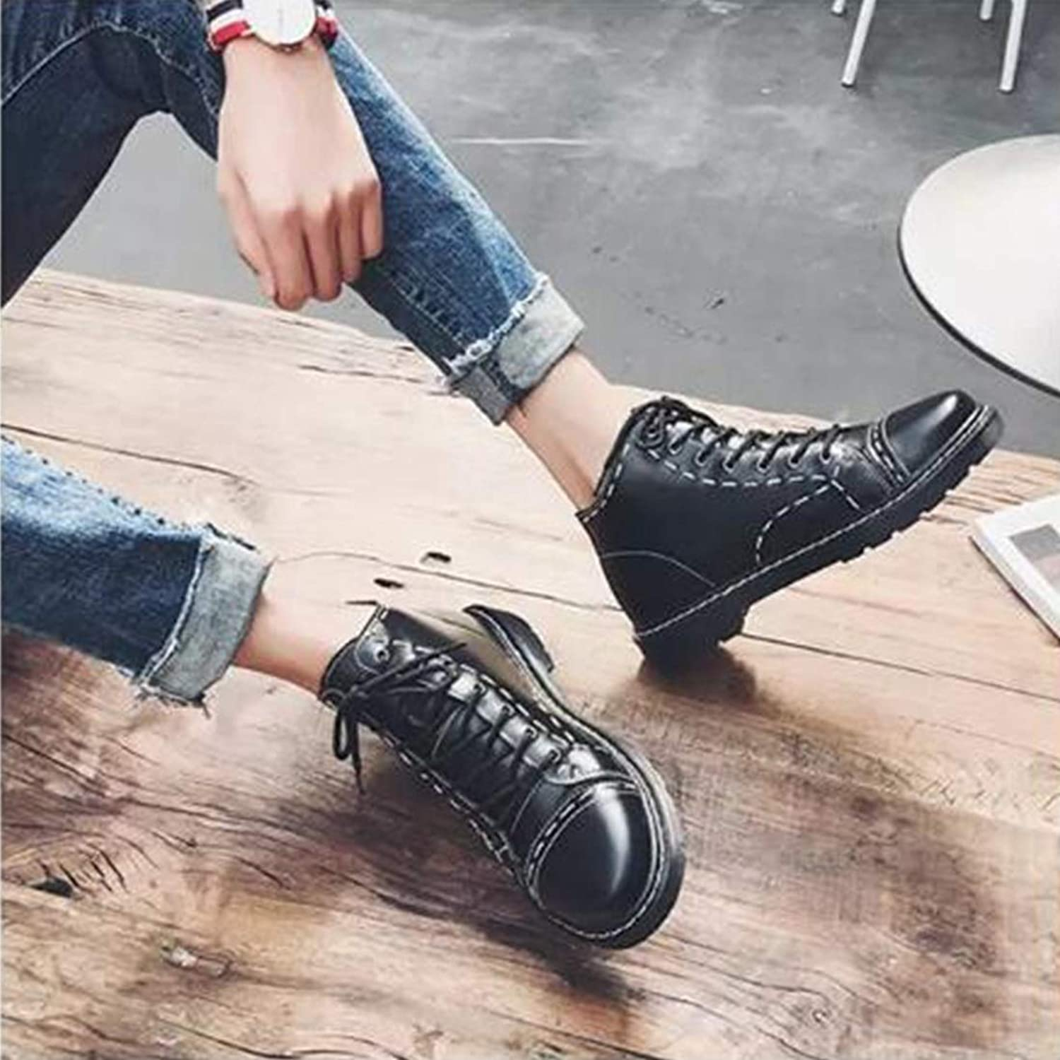 Anstorematealliance Outdoor&Sports shoes Men Tooling Boots Lace-Up Casual shoes (color Black Size 38)