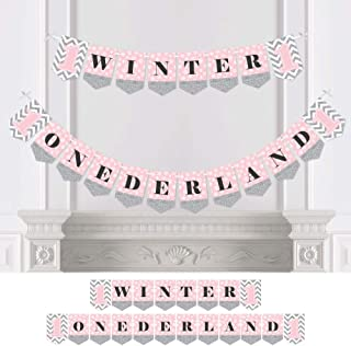 Big Dot of Happiness Pink Onederland - Holiday Snowflake Winter Wonderland Birthday Party Bunting Banner - Party Decorations - Winter Onederland