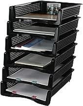 Mayish - Bandeja de plástico para documentos (A4, apilable, 6 unidades), color negro