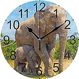 ALLdelete# Wall Clock Elefante Madre Bebé Reloj de Pared de acrílico Redondo Sin tictac Relojes silenciosos para decoración del hogar Sala de Estar Cocina Dormitorio Oficina Escuela