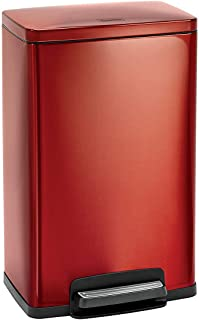 Tramontina 81200/551DS Cranberry Red Contemporary Rectangular Step Can Freshener System, Trash Can, 13-Gallon …