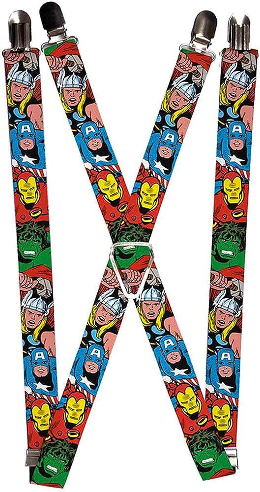 Buckle-Down Marvel Comics Suspenders-Avengers Superheroes Close-up