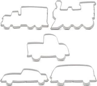 LILIAO Transportation Cookie Cutter Set - 5 Piece - Train, Truck, Pick-up Truck, Beat-up Car and Bus Fondant Cutters - Stainless Steel