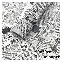 ティッシュラッピングペーパー 20/50 / 100ピース英語の新聞印刷ティッシュペーパーフラワーラッピング紙の包装包装屋ギュペーパーギフトパッキング (Color : 20pcs)