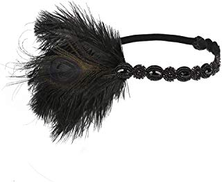 Song Qing Retro Feather Flapper Headpiece 1920s Great Gatsby Party Crystal Bead Headband Hair Band