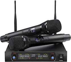 NASUM Handheld Wireless Microphone System with UHF Dual Channel Dual Karaoke Wireless Microphone LCD Display Professional KTV Set for Party,Meeting,Karaoke,Classroom