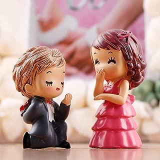 yingyue Miniature Lover Doll Figurines DIY Garden Dollhouse Ornament 2Pcs