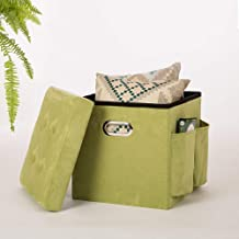 Glitzhome Cube Faux Suede Foldable Storage Ottoman with Padded Seat, Green