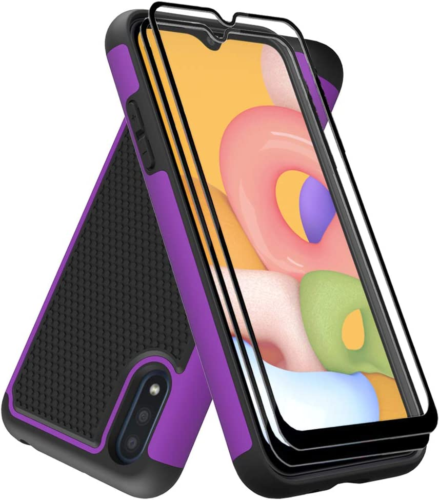 Dahkoiz Case Compatible for Samsung Galaxy A01 Case with Tempered Glass Screen Protector[2 Pack], Durable Defender Armor Cover Sturdy Protective Phone Cases for Galaxy A01, Purple