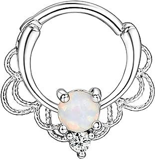 HIUYOO 1 Pezzi Piercing Naso Cerchio Filigrana a Cerchio Vintage con Opale Anelli Naso Oro