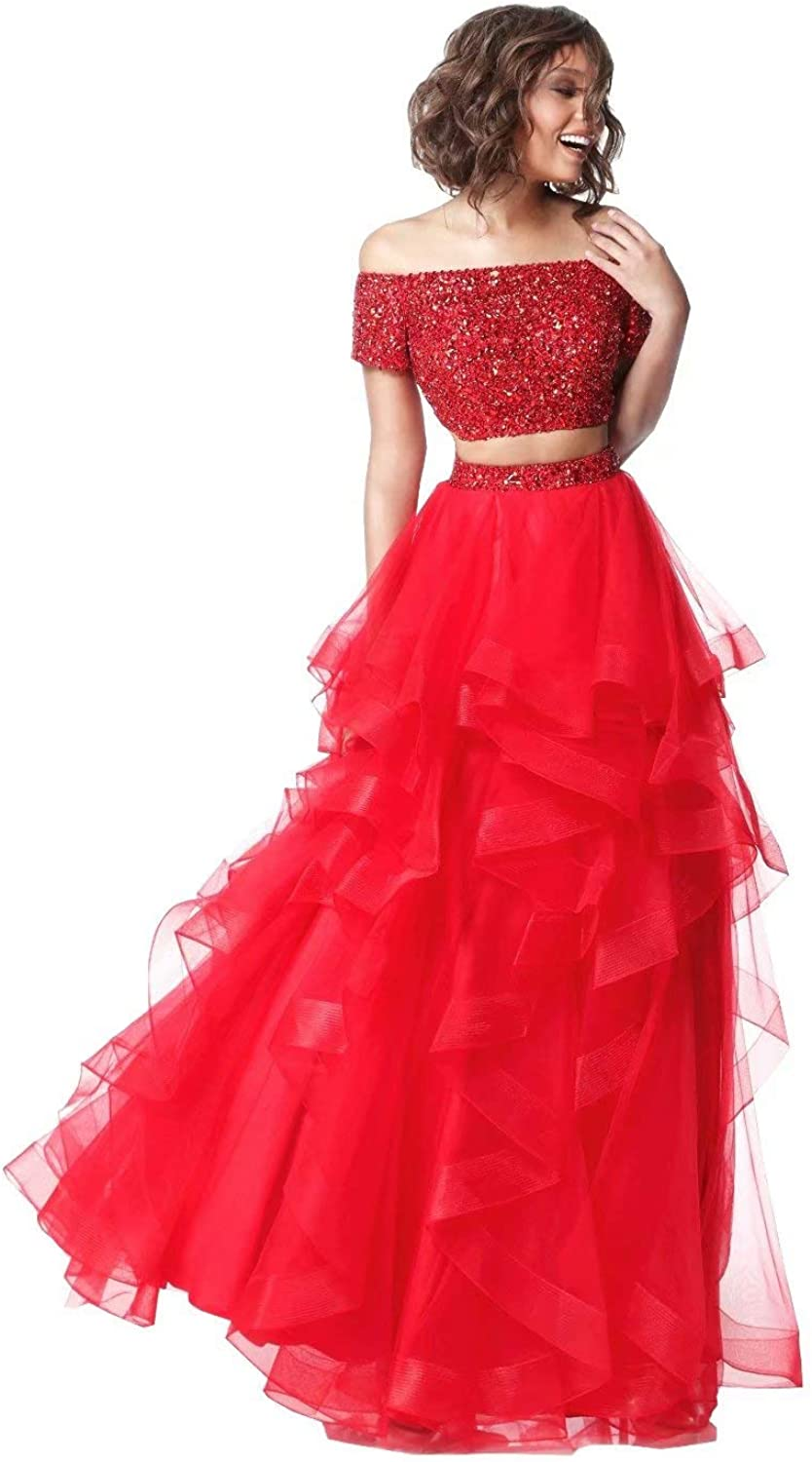 Unions Women Two Piece Off The Shoulder Beaded Prom Dresses Layered Tulle Formal Evening Gown