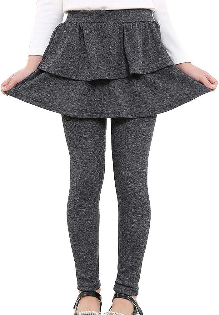 Reciy Leggings Extensibles pour Filles Avec Jupe /à Volants Pantalon de couleur unie 2-9 ans