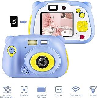 shumeifang Cámara Digital para Niños con 32GB Tarjeta TF & Acollador 2 Objetivos Selfie 12 MP 2720P HD Video Cámaras 2.0 Pulgada LCD Pantalla a Color Carcasa de Silicona Azul