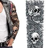 2 x Temporary tattoo Skulls black roses gothic goth punk 80's rockstar redneck biker full adult arm sleeves body art transfer sticker Halloween prank fancy dress men women christmas stocking gag gift