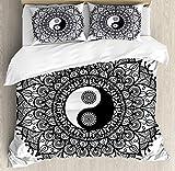 ABAKUHAUS Yin Yang Funda Nórdica, Estilo Bohemio Símbolo del Tao Diseño Mandala Floral...