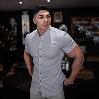 Men Fashion Casual Short Sleeve Solid Shirt Super Slim Fit Male Social Business Dress Shirt Brand Men Fitness Sports Clothing