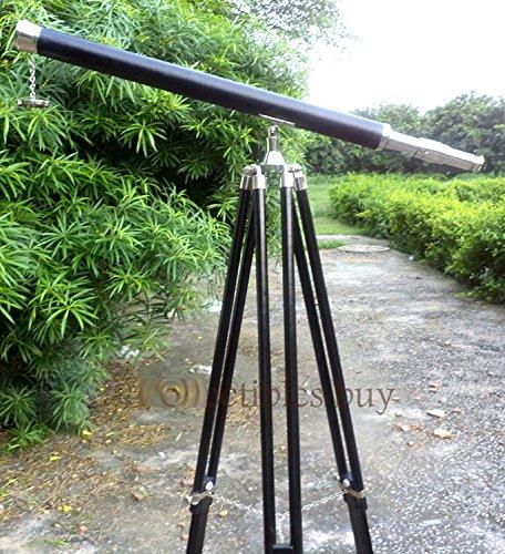 Telescopio (latón,102cm, madera de palisandro, incluye trípode de