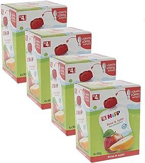 HiPP Früchte im Quetschbeutel für Babys, Birne & Apfel, 4er Pack (4 x 90 g)