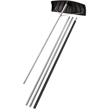"""Suncast 24"""" Adjustable Roof Rake with 20' Resin Handle - Durable Multi-Tool Rake with No Stick Blade Great for Snow, Leaves, Debris Removal - Easy to Use"""