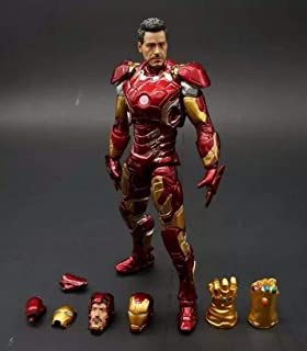 WAHE Anime Statue Avengers 2 Iron Man Hanging Cards MK43 Movable Doll Hand Model Toys Height About 25 cm